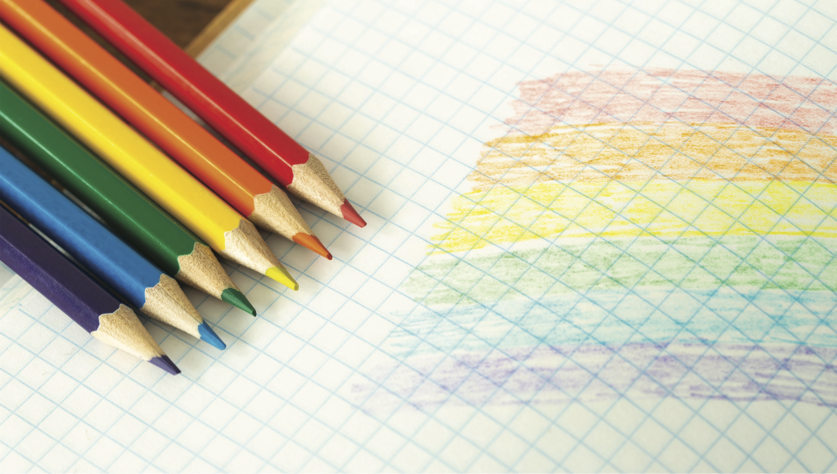 Crayons de couleur arc-en-ciel